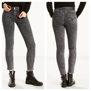 Levis 721 High Rise Skinny Bass Line Raw Hem Jeans